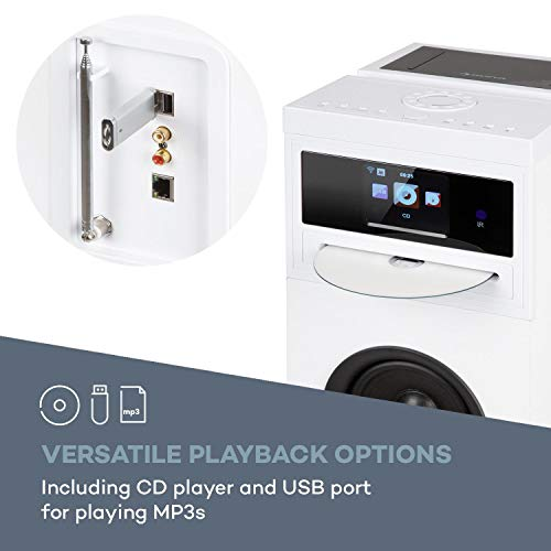 AUNA Karaboom 100-2.1 Lautsprechersystem, Internetradio, DAB, DAB+ und UKW Radio, CD-Player, WiFi Turmlautsprecher, Standlautsprecher, Bluetooth, HCC-Display, 120 Watt Leistung, weiß