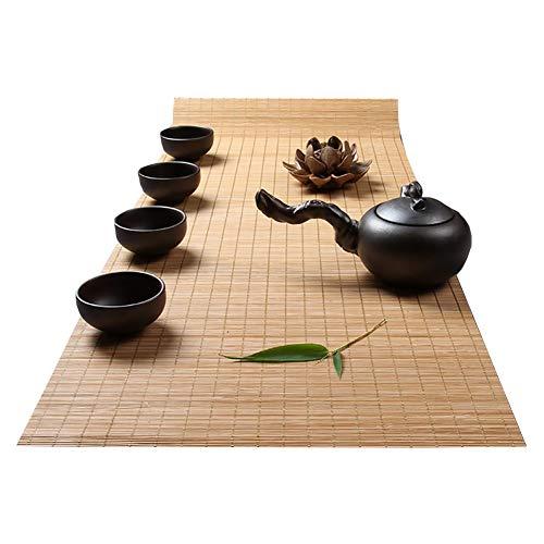 Tischläufer Bambus Tischläufer In Der Einfachen Retro, Innen- Oder Außenhitzebeständige Tischmatten, Tee-Matte, Tee Vorhang, Classic Tea Table Mat (Color : Style1, Size : 100×30cm)