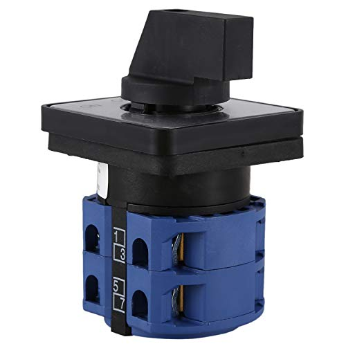 Didad AC660V 25A 2 polos 3 posiciones Interruptor de cambio giratorio de plastico momentaneo Azul + Negro