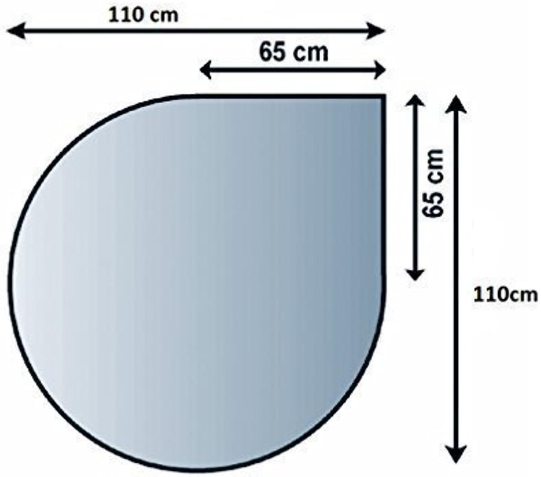 Glasbodenplatte Funkenschutz Kaminplatte Glas viele Formen 6mm Sicherheitsglas (110cm x 110cm - Tropfenform)