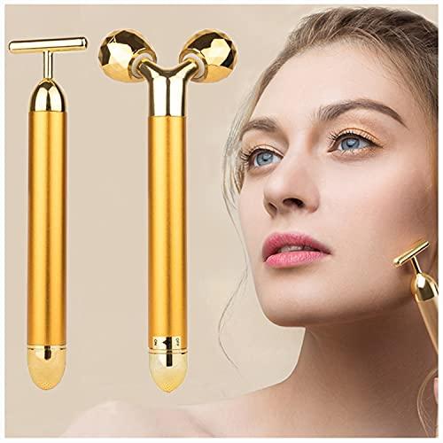 2-EN-1 Masajeador Facial 24k Golden Pulse Facial Masajeador facial, Brazo Ojo Nariz Masajeador de cabeza Lifting facial instantáneo, Antiarrugas, Estiramiento de la piel, Reafirmación facial