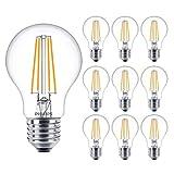Philips 929001387302 - Lote de 10 bombillas LED de filamento clásico (7 W, casquillo E27, 2700 K, luz blanca cálida, 806 lúmenes, 15000 horas, incluye ambientador para coche
