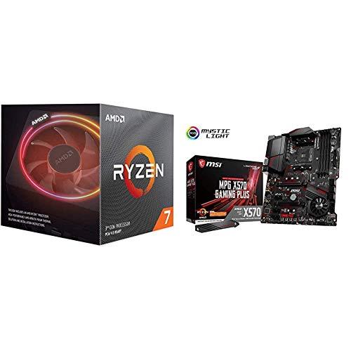 AMD Ryzen 7 3700X Prozessor, 4GHz AM4 36MB Cache Wraith Prism & MSI MPG X570 Gaming Plus AMD AM4 DDR4 M.2 USB 3.2 Gen 2 HDMI ATX Gaming Motherboard