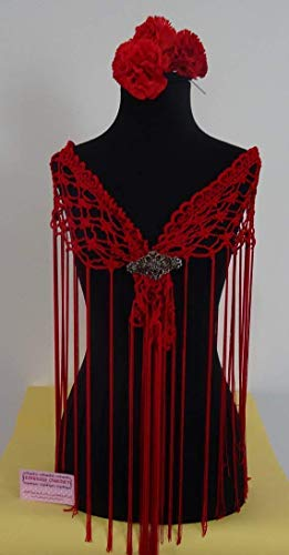 Mantoncillo de Flamenca a Crochet rojo 💚