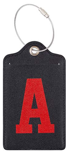 Chelmon Initial Luggage Tag with Full Privacy Cover and Stainless Steel Loop (A)