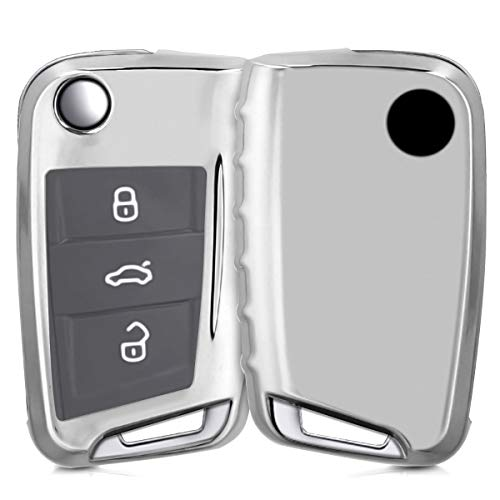 kwmobile Custodia copri-chiave compatibile con VW Golf 7 MK7 con 3 tasti - Cover chiavi auto in silicone TPU - Guscio elastico protezione argento brillante