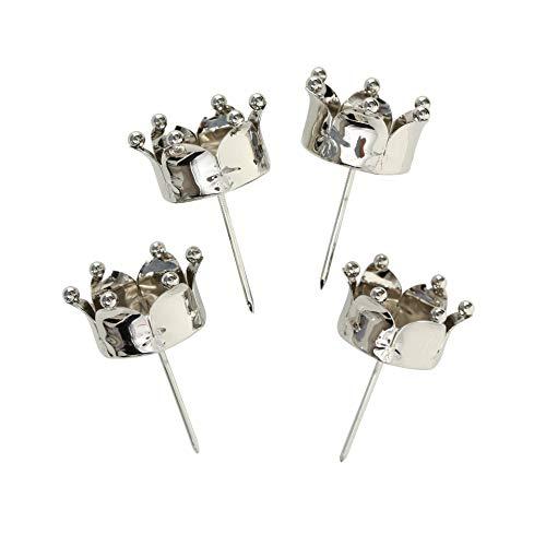 B&B 4 STÜCK Windlichtstecker Krone Silber Farben Kerzenpick Teelichthalter zum Stecken SILBERFARBEN Metall Windlicht Stecker Kerzenstecker Adventskranz Stecker Teelichthalter Kerzenhalter