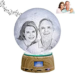 Personalized Bluetooth Music Lights 3D Printed Photos Moon Lamp Custom Night Lights 6 Color Moon Lights Best for Women