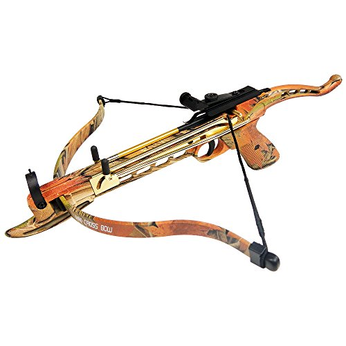 iGlow 80 lb Autumn Camouflage Aluminum Self Cocking Hunting Pistol Crossbow Archery Bow +15 Bolts/Arrows 50
