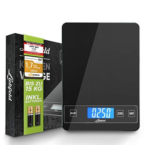 Liebfeld - Digitale Küchenwaage bis 15kg mit großer Glas Wiegefläche + 2 Batterien I Haushaltswaage digital, Essenswaage (Schwarz)