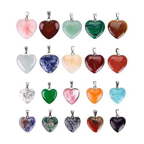 SDJH 20 pièces en Forme de Coeur Pendentif en Pierre Chakra Beadiy charmes de Cristal, 2 Tailles différentes