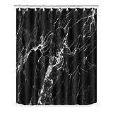 LB Duschvorhang, schwarzer Marmor, abstrakter Naturmarmor, schwarz & grau, Badezimmer-Vorhang, 152,4 x 182,9 cm, wasserdichter Polyester-Stoff, Badevorhanghaken enthalten