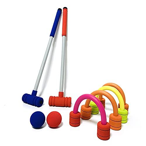 ダブルプレーヤークロケットセット-プラスチック製の木槌、色付きのボール、子供/子供/家族用のウィケットを備えた芝生の裏庭のゲームキット