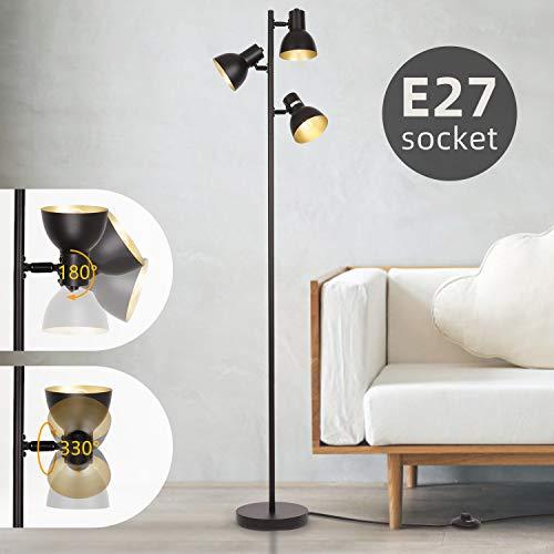 Albrillo Retro Stehlampe - Schwenkbare Stehleuchte mit 3 Flammig und E27 Fassung, Max. 40W Birne und Fußschlter, Schwarz-Gold, 160cm Metall Standlampe für Lesezimmer Schlafzimmer Büro