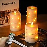 Candele LED di Da by, con luci a corda incorporate, candele LED in 3 pezzi, con telecomando a 10 tasti, funzione timer 24 ore, fiamma danzante, cera reale, alimentazione a batteria.