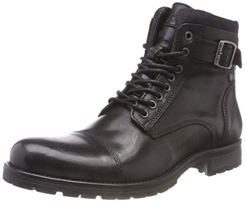 JACK & JONES Herren JFWALBANY Leather STS Biker Boots, Schwarz (Anthracite), 41 EU