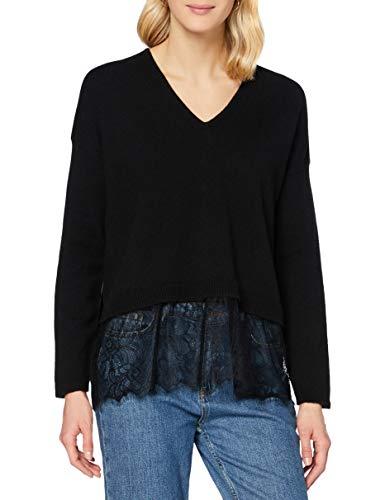Sisley V Neck Sweater L/s Maglione, Nero 100, M Donna