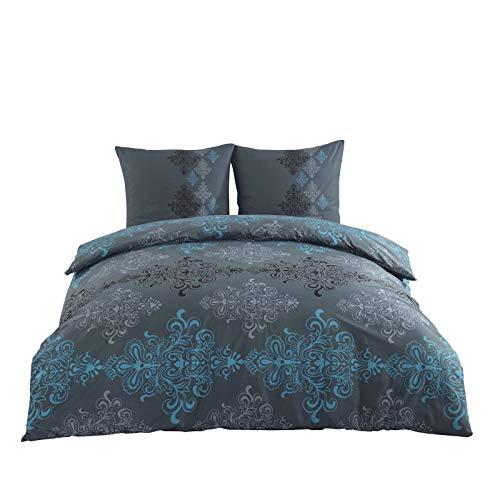 Class Home Collection 3 TLG Renforce Bettgarnitur Set | Bettdeckenbezug 200x200 cm | Kopfkissenbezüge 80x80 cm | 3 teilig Bettwäsche | 100% Baumwolle Oeko-TEX | Bettbezug mit Reißverschluss | Aura