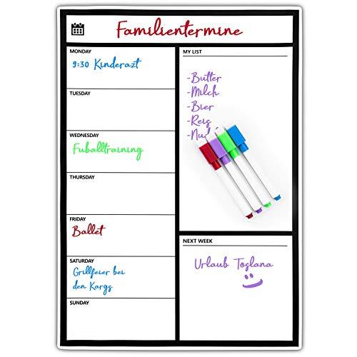Magnetischer Wochen-Planer Magnet-Tafel für den Kühlschrank Tagesplaner White-Board beschreibbarer Wochen-Kalender Pinnwand magnetisch Magnetwand zum Aufhängen mit Haushaltsplan & Wochenplan