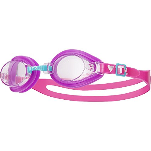 TYR Kids Qualifier Goggles, Clear/Purple/Pink, One Size
