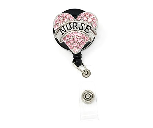 Pink Nurse Pink Heart Rhinestone Retractable Badge Reel/ID Badge Holder/Brooch/Pendant/Id Badge Holder Photo #1