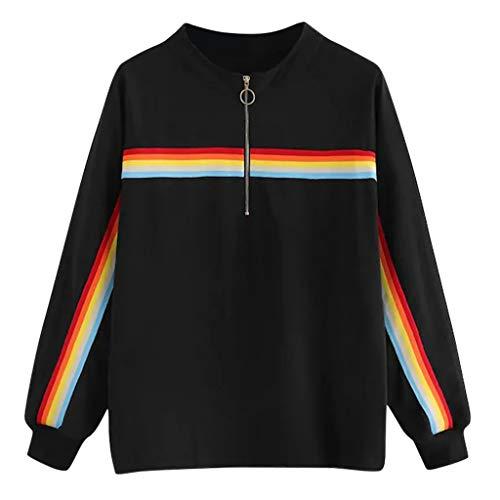 WYTONG 여성 캐주얼 블라우스 긴 소매 레인보우 줄무늬 스포츠 스웨터 캐주얼 풀오버 탑스 (블랙 S)