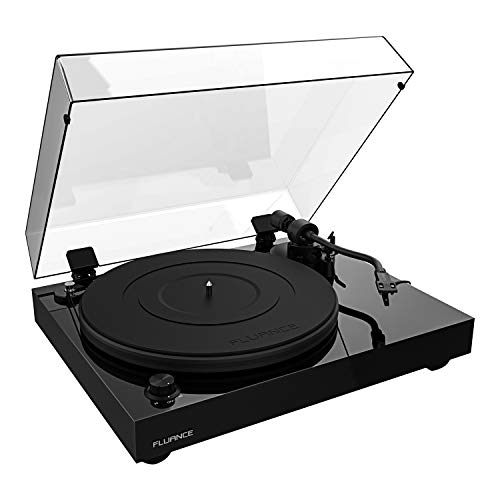 Fluance RT82 Reference High Fidelity Vinyl Turntable Record Player with Ortofon OM10 Cartridge, Speed Control Motor, Solid Wood Plinth, Vibration Isolation Feet - Piano Black