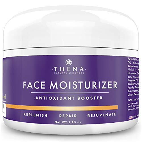 THENA Antioxidant Boost Facial Cream Moisturizer For Dry Skin, Organic & Natural Anti Aging Skin Care, With Restoring Niacinamide Hyaluronic Acid Vitamin C & A (Retinol), Face Cream For Women & Men