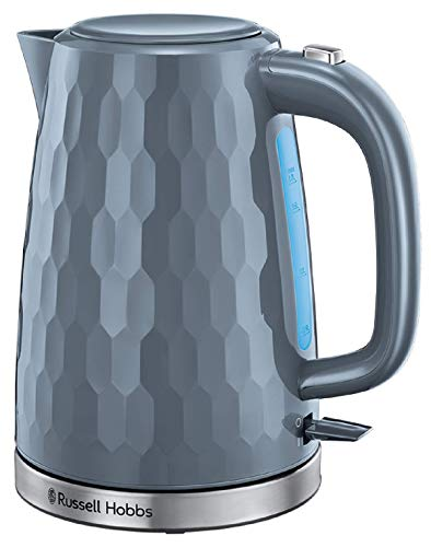 Russell Hobbs 26053 Cordless Electric Kettle - Contemporary Honeycomb Design with Fast Boil and Boild Dry Protection, 1.7 Litre, 3000 W, Grey