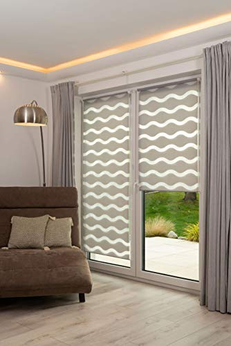 K-home Doppelrollo Welle Tenda avvolgibile a Doppio Rullo Klemmfix, Poliestere, Grigio, 40 x 150 cm