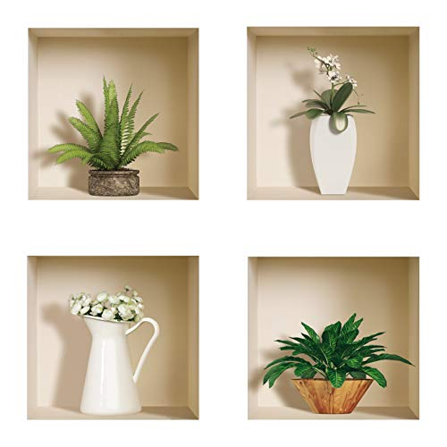 The Nisha Art Magic 3D Vinyl Removable Wall Sticker Decals DIY, Set of 4, Green and White Vase 400-UK