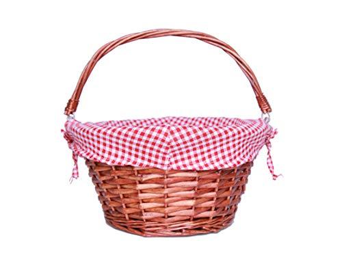 Oypeip Wicker Basket Gift Baskets Empty Round Willow Woven Picnic Basket Cheap Easter Candy Basket Storage Basket Wine Basket with Handle Egg Gathering Wedding Basket (Auburen)
