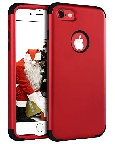 BENTOBEN Case for iPhone 8/iPhone 7, Heavy Duty Shockproof 3 in 1 Hard PC Soft Silicone Hybrid Coated Full-Body Protective Phone Cover Case for Apple iPhone 8/7 (4.7 Inch), Christmas Red