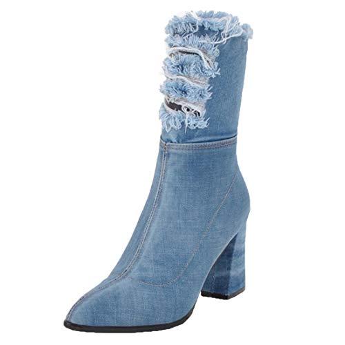 MISSUIT Damen Denim Kurzschaft Stiefel Jeans Cut Out Stiefeletten Spitz mit Blockabsatz High Heels Stiefel Reißverschluss(Hellblau,38)