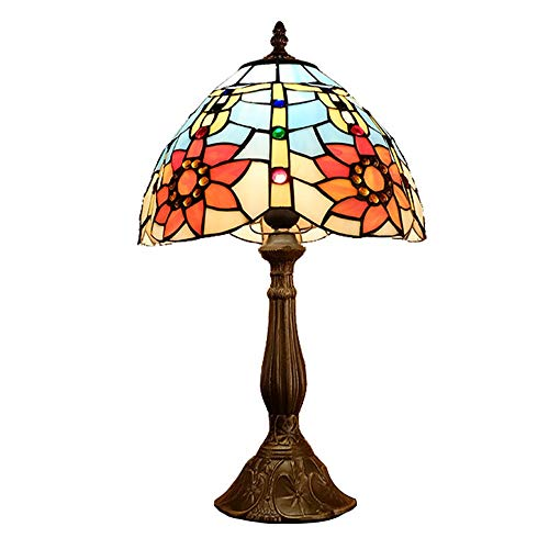 WRISCG Table Lamp Lamp Rural Creative Romantic Tiffany Style Stained Glass Table Lamp Sun Flower Bedroom Bedside Lamp Study American Table Light 30 * 50cm