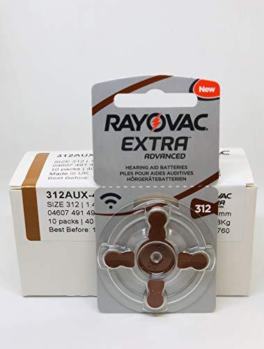 Rayovac Extra Advanced Batterie Acustiche Zinco Aria, Formato 312 Value, Pacco da 40 Batterie, Marrone (40, marrone)