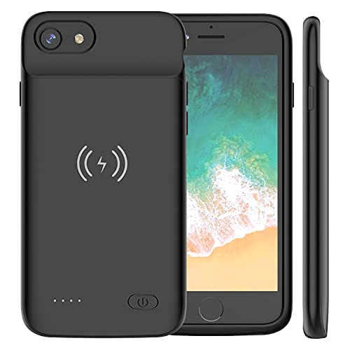 Battery Case for iPhone 8/7/6s/6/SE2020, Slim 7000mAh QI Wireless Charging Battery Case Protective Rechargeable Battery Wireless Charging Case for iPhone SE/8/7/6s/6 (4.7inch Black)