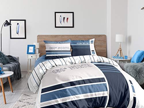 CALITEX - Juego de 3 Piezas, 260 x 240 cm, 100% algodón, Azul, 260 x 240 cm