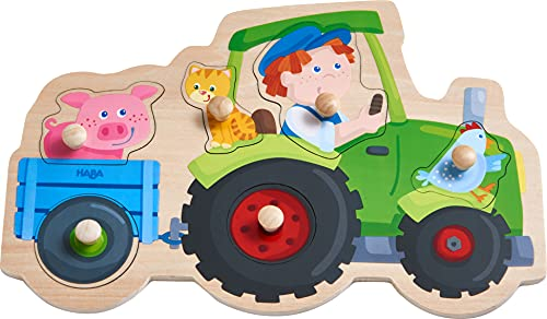 HABA 305550 - Greifpuzzle Lustige Traktorfahrt, Greifpuzzle ab 1 Jahr
