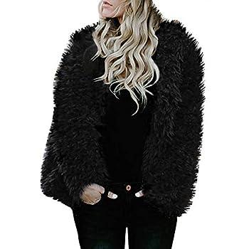 YKARITIANNA Women Tops Solid Soft Fleece Ladies Warm Faux Fur Coat Jacket Winter Open Front Parka Hooded Outerwear