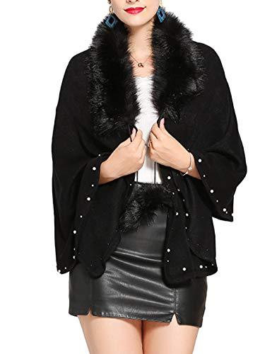 SOMTHRON Damen Winter Kaschmir Kunstpelz Poncho mit Perlen 165×57 cm(BL)