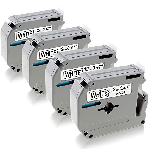 3x MK231 MK-231 12mm Schriftband für Brother P-Touch PT 75 80 85 90 M95 110 BB4
