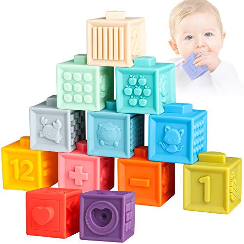 Sunarrive Soft Building Blocks for Babies Toddlers 6 9 12 Months 1 2 Year Old - Baby Teether Toys - Montessori Learning Sensory Stacking Toys for Infant