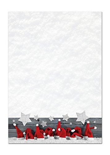 50 Blatt Weihnachtsbriefpapier weihnachtliches Briefpapier Papier ROT WEISS MÜTZE STERNE 100g Weihnachtspapier Schreibpapier Motiv-Papier DIN A4 Brief-Bogen Design-Papier