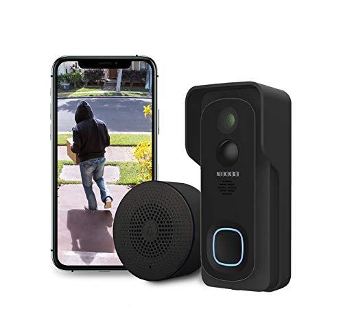 Nikkei BELL4 - Sonnette sans Fil Vidéo avec Caméra Full HD 1080P et WiFi - avec Sonnerie Interne, Vision Nocturne, Détection de Mouvement - Audio Bidirectionnelle - Étanche IP65 - App pour iOS/Android