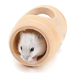 LAAT Wooden Bed Cage Pet Wooden House Shape Barrel Hamster Toy for Hamster Small Animal