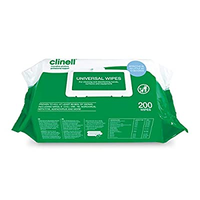 Clinell BCW200 Universal Cleaning and Surface Disinfection Wipes - Multi Purpose Wipes, Kills 99.99% of Germs, Effective in 10 Seconds - Pack of 200 Thick Wipes from Gama Healthcare