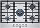 Bosch NGM8057UC 30' 800 Series Gas Cooktop with 5 Sealed Burners, FlameSelect, Dual Flame Burner, Heavy Duty Grates, OptiSim Burner, ADA Compliant, in Stainless Steel
