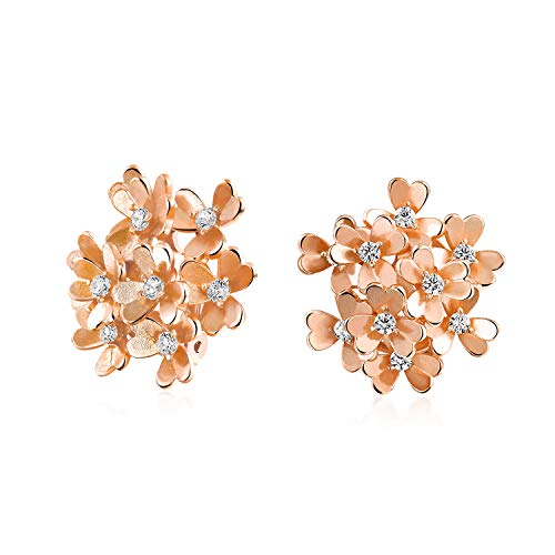 Bouquet Of Flower Cubic Zirconia Clip On Floral CZ Button Style For Non Pierced Ears Rose Gold Plated Brass Earrings