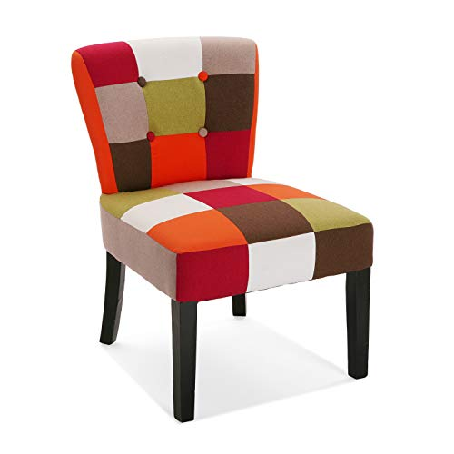 Versa 19500457 Silla acolchada tapizada para Salón o Comedor, 73 x 64 x 50 cm, Rojo, Verde, Naranja y Beige